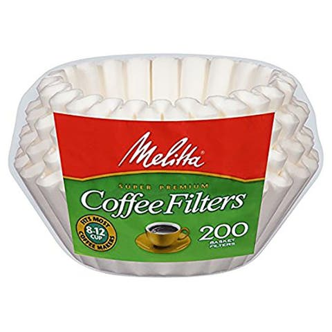 Melitta Junior Basket Coffee Filters 200-Count, White, 4-6 Cups