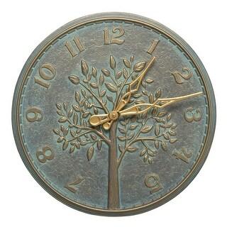 Whitehall Tree of Life 16-In Indoor Outdoor Wall Clock (Bronze Verdigris) - bronze verdigris