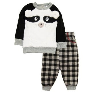 Duck Goose Baby Boys Raccoon Cardigan Sweater Plaid Microfleece Pant Outfit Set