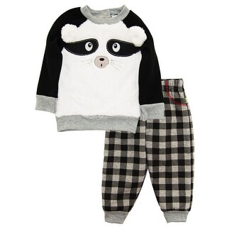 Duck Goose Baby Boys Raccoon Cardigan Sweater Plaid Microfleece Pant Outfit Set (3 options available)