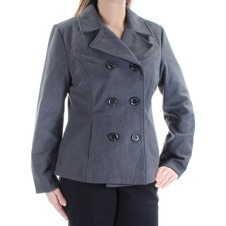 Womens Gray Casual Peacoat Coat Size L