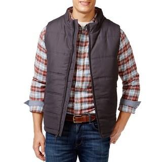 Weatherproof Gray Puffer Full Zip Mens Size Small S Jacket Vest