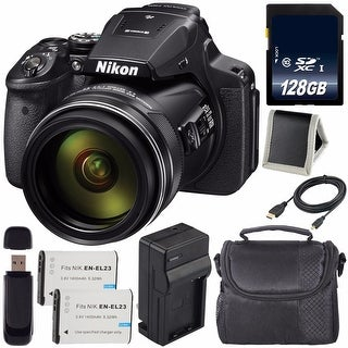 Nikon COOLPIX P900 Digital Camera (Certified Refurbished) + EN-EL23 Lithium Ion Battery + Charger + 128GB Card + Case Bundle