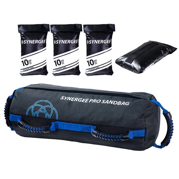 Synergee Pro Adjustable Sand Bag with Filler Bags 10-40lbs Heavy Duty Weight Bag - Black