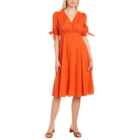 Gal Meets Glam Smocked Front Linen-Blend Midi Dress