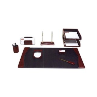 Dacasso D7012 Burgundy Leather 8-Piece Desk Set