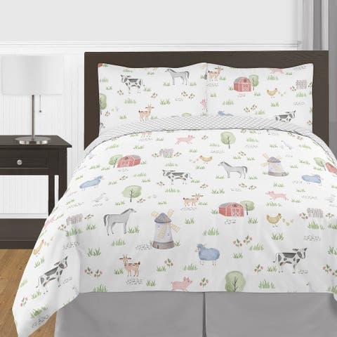 Farm Animals Collection Boy Girl 3-piece Full / Queen-size Comforter Set - Watercolor Farmhouse Lattice Horse Cow Sheep Pig