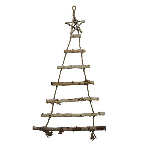 "48"" Natural 7-Tier Wall Hanging Twig Tree with Star Christmas Decoration - WHITE"
