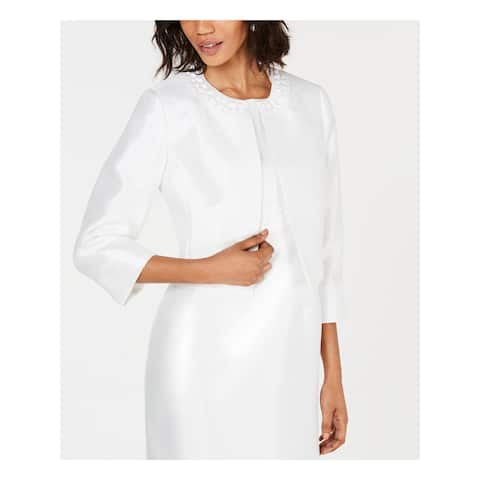 KASPER Womens White Evening Jacket Size 10