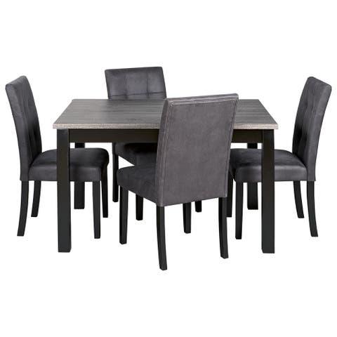 Garvine Contemporary Rectangular Dining Room Table Set Set of 5, Black/Grey