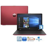 """HP 15-bs009cy Core i3-7100 2TB HDD 15.6"""" HD Touch Screen Laptop with Office 365 - Red"""