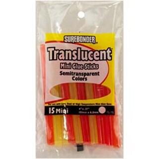 """Translucent Mini Glue Sticks 1/4""""X4"""" 15/Pkg-Assorted Colors"""