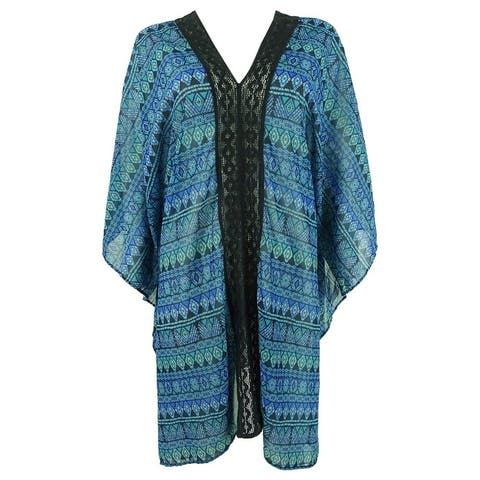 Miraclesuit Women's Gypsy Printed Caftan Swim Top Cover-Up - Teal Green