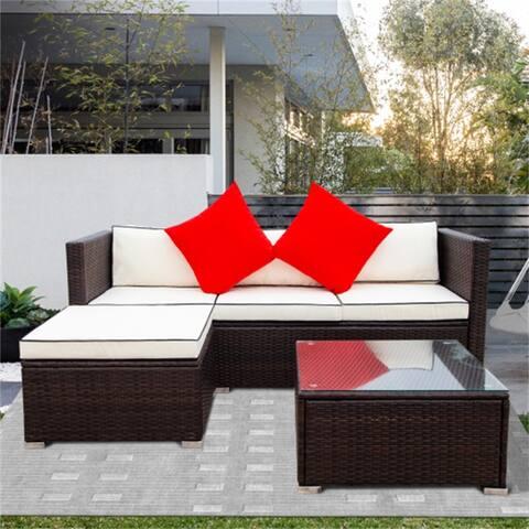 AOOLIVE 3 Piece Patio Sectional Wicker Rattan Sofa Set,Cream Cushions