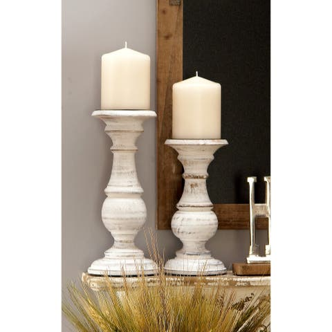 The Gray Barn Crow Haven Distressed White Mango Wood Candleholders (Pack of 3)