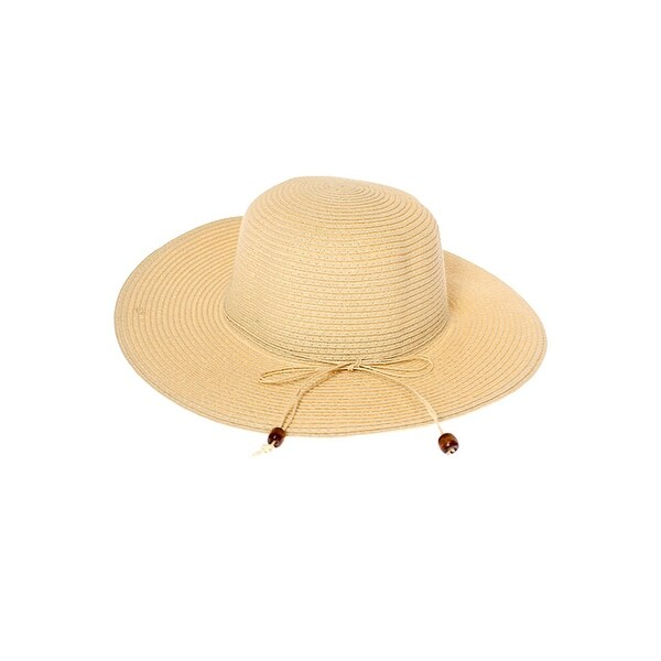 ed3e8ae5b40652 Shop Floppy Summer Straw Hat with Beaded Tie - Free Shipping On Orders Over  $45 - Overstock - 12200426