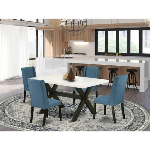 Stylish Dining Table Set a Wood Table and Linen Fabric Chairs (Number of Chair and Bench Option)