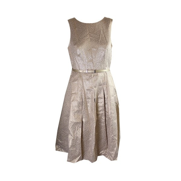 Shop Tommy Hilfiger Gold Metallic Sleeveless Belted Fit