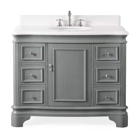 "42"" Benton Collection Modern Style Sesto Grey Bathroom Vanity"