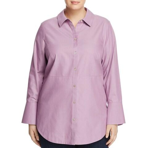 Foxcroft Women Plus French Cuff Button Down Shirt