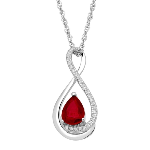 7/8 ct Natural Ruby Teardrop Pendant with Diamonds in Sterling Silver - Red