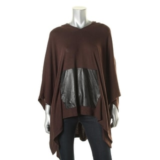 Karen Kane Womens Mixed Media Faux Leather Cape Sweater - L