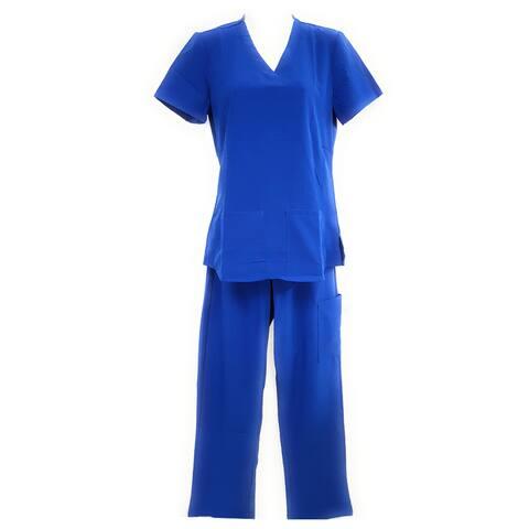 DSF Women's Four Stretch Scrub Set V-Neck Top Cargo Pants
