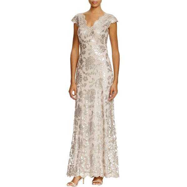 Tadashi Shoji Womens Evening Dress Lace Sequined