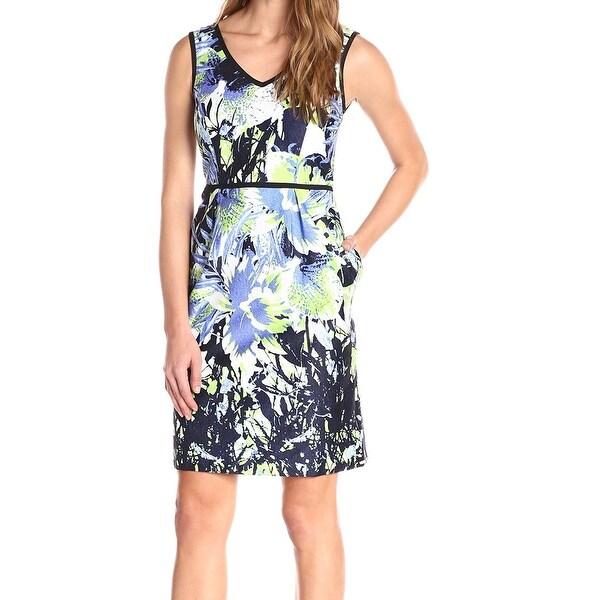 Nine West NEW Blue Green Black Women's Size 2 Sheath Printed Dress