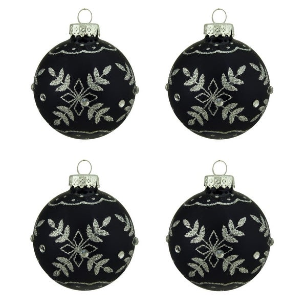 """4ct Matte Black with Silver Snowflake Design Glass Ball Christmas Ornaments 2.5"""" (65mm)"""