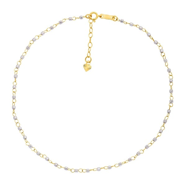 Just Gold Beaded Anklet in 14K Two-Tone Gold