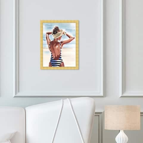 Oliver Gal 'That Tan' Fashion and Glam Wall Art Framed Print Swimsuit - Brown, White