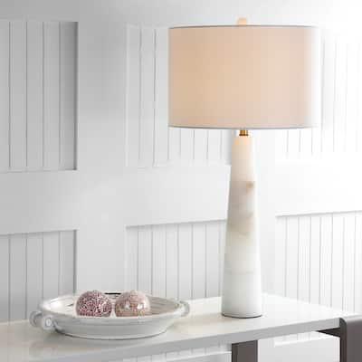 "SAFAVIEH Lighting 30-inch Delilah Alabaster LED Table Lamp - 15""x15""x30"""