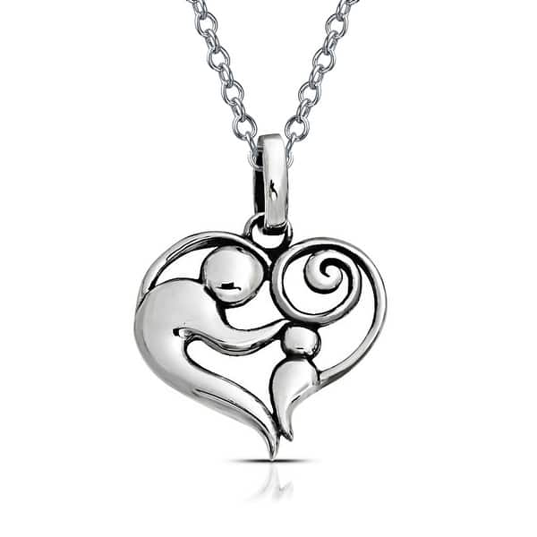 925 Silver 2x Rose Gold Mother /& Daughter heart White Pendant Charm Set+gift box