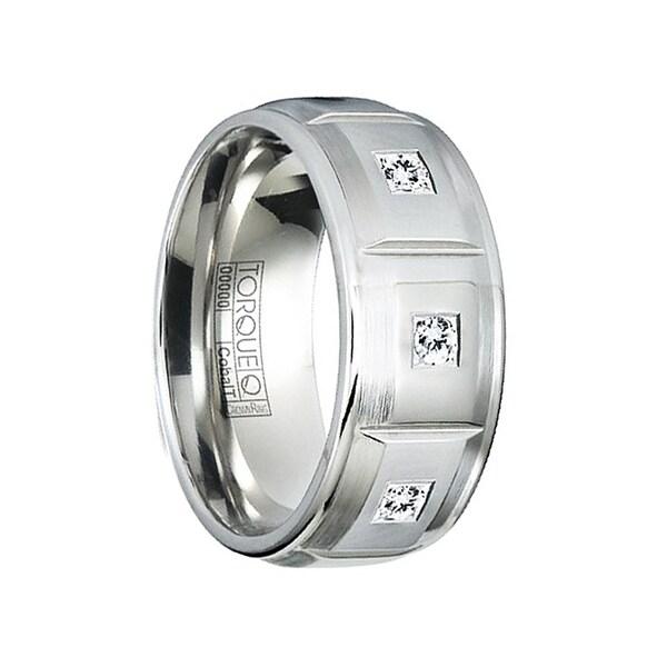 JOHNSON Matte Cobalt Men's Wedding Band with Beveled Edges & 3 Diamonds by Crown Ring - 9mm
