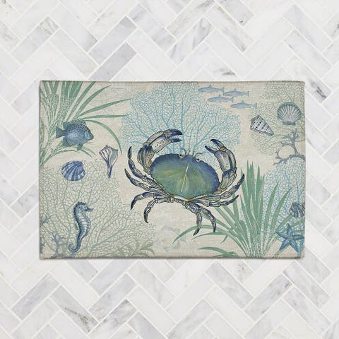 Blue Crab Chenille Accent Rug