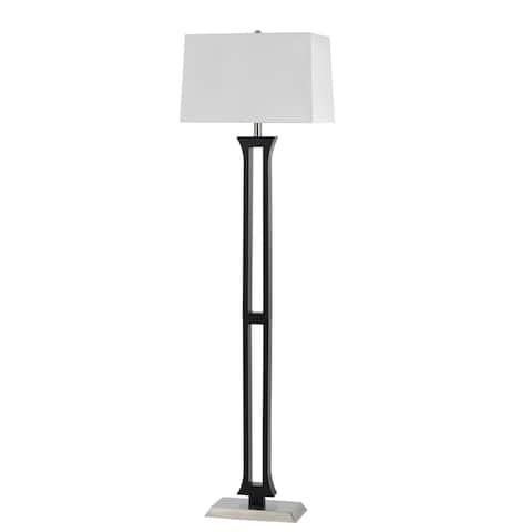 100 Watt Metal Body Floor Lamp with Square Fabric Shade, Black and White
