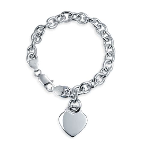 Solid Heart Shape Charm Tag Bracelet Engravable Sterling Silver Rolo