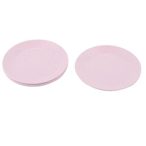 "Restaurant Round Design Food Snack Dessert Dish Plate Pink 4 Pcs - 5.2"" x 0.5""(D*T)"