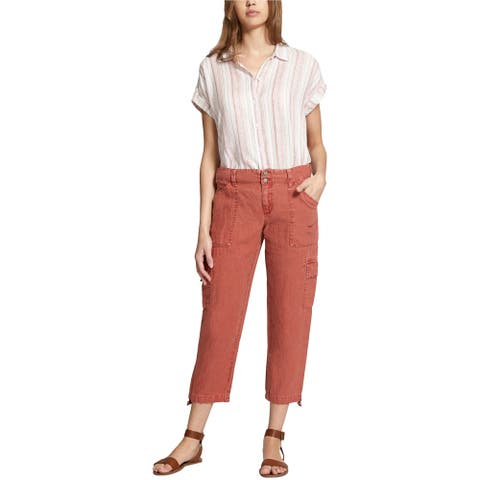 Sanctuary Clothing Womens Cropped Casual Cargo Pants, Red, 26