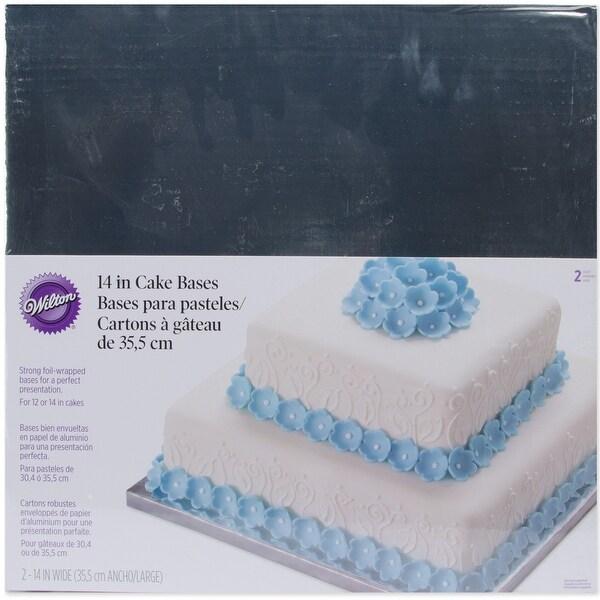 "Cake Bases-14"" Square Silver 2/Pkg"