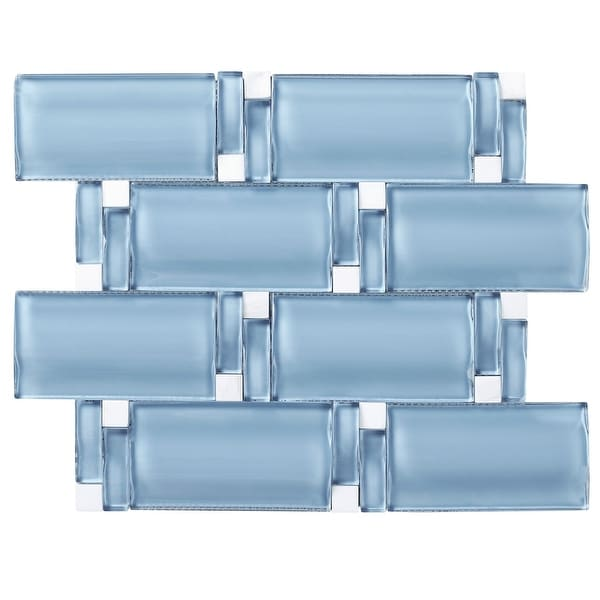 "TileGen. 3D Arched 2.5"" x 4.5"" Glass Mosaic Tile in Blue Wall Tile (10 sheets/8sqft.). Opens flyout."