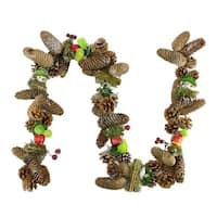 5' Decorative Red Berries, Fruit and Pine Artificial Christmas Garland - Unlit - brown
