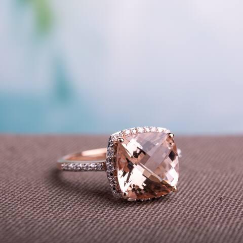 Miadora Signature Collection 14k Rose Gold 1/10ct TDW Diamond and Morganite Ring (G-H, I1-I2)
