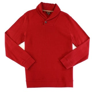 Tasso Elba NEW Red Mens Size Medium M Shawl-Collar Ribbed-Knit Sweater