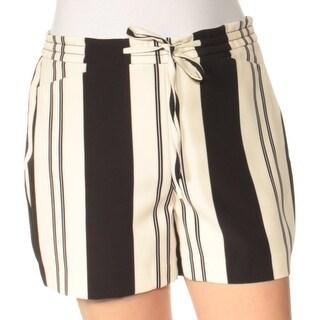 Womens Black Ivory Striped Casual Straight leg Short Size 10