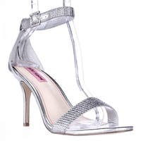 Betsey Johnson Brodway Ankle Strap Dress Sandals, Silver Metal