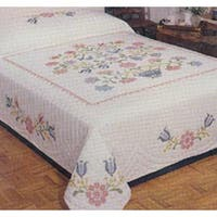 "Colonial Stencil - Stamped Cross Stitch Quilt 90""X103"""