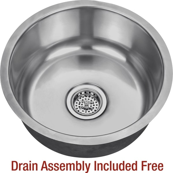 "Miseno MSS17C 17-1/8"" Circular Undermount Stainless Steel Bar / Prep Sink - Drain Assembly Included"