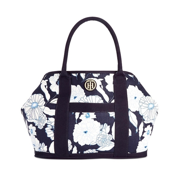 Shop Tommy Hilfiger Womens Floral Canvas Shopper Tote Bag Navy Blue and  White - Free Shipping Today - Overstock - 17117791 56a4af3a55